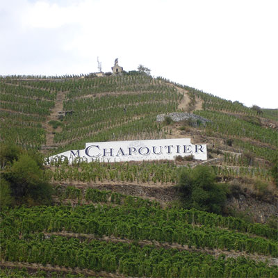 L'Hermite with its famous chapel. The chapel is owned by Jaboulet but the vines are Chapoutier's