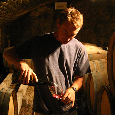 David Clark in his cellar