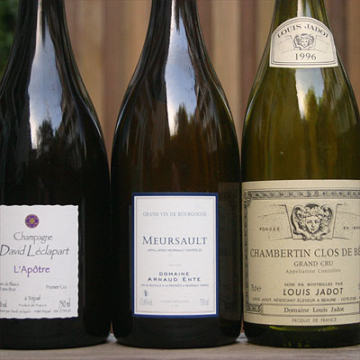 Champagne David Leclapart, Meursault Arnaud Ente, Chambertin Clos de Beze Louis Jadot
