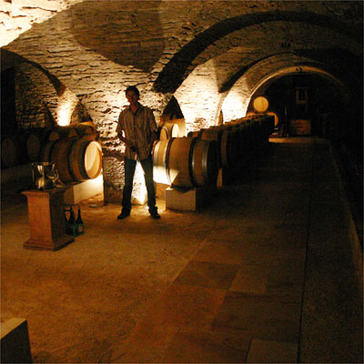 Sylvain Loichet in his just renovated cave in Chorey-les-Beaune