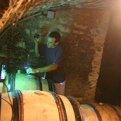 Oronce de Beler in his cellar under his house in Vosne-Romane