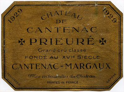 The label of Chteau Prieur de Cantenac 1929