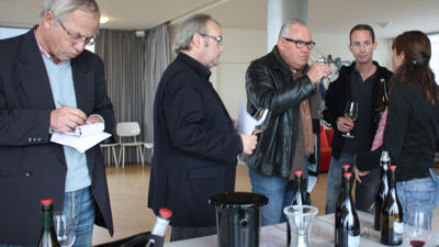 Ren van Heusden, Frank Jacobs, Karel de Graaf and Mark van den Reek tasting with Coralie Delecheneau