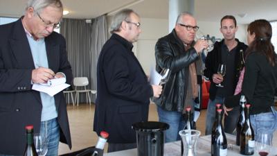 René van Heusden, Frank Jacobs, Karel de Graaf and Mark van den Reek tasting with Coralie Delecheneau